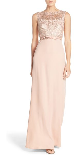 Tadashi Shoji gavin embroidered bodice gown in petal gold - Lustrous embroidery traces intricate designs atop this...