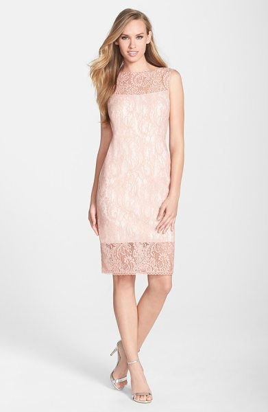 Tadashi Shoji illusion bonded lace sheath dress in pink shadow - Light pink lace lends charming romance to a classic...