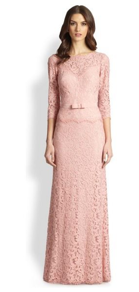 Tadashi Shoji Illusion lace gown in pinkopal - Semi-sheer floral lace shapes this classic,...