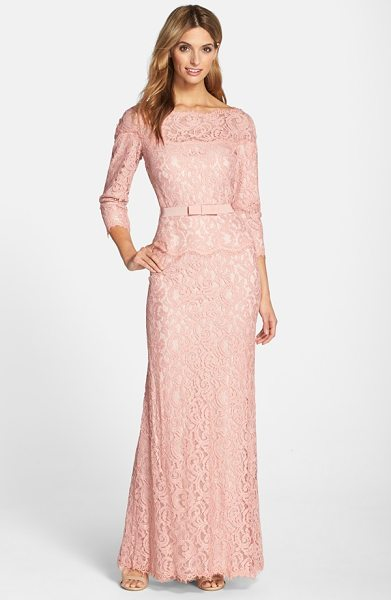 Tadashi Shoji illusion lace gown in pink opal - The always-chic bateau-neck gown is elevated to...