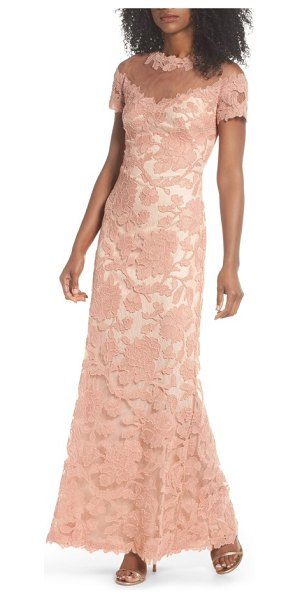 Tadashi Shoji illusion yoke embroidered gown in coral - An illusion panel makes it look as if a delicate floral...