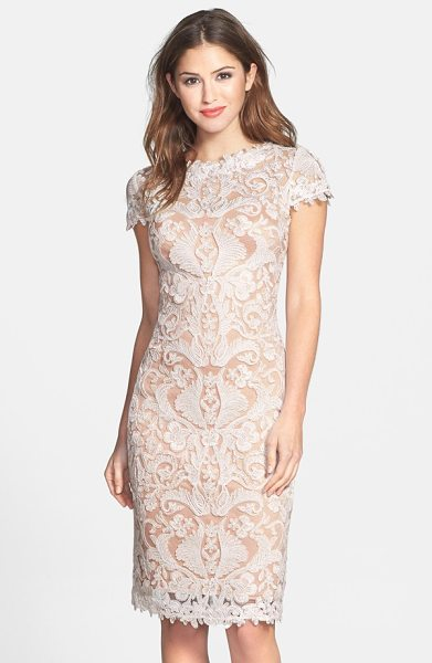 Tadashi Shoji illusion yoke lace sheath dress in ivory/ petal