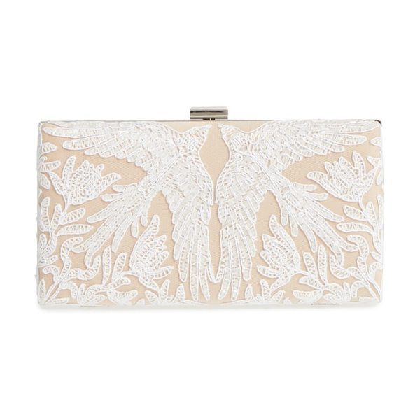 Tadashi Shoji lace clutch in white/ nude - Bird-patterned lace adds elegant charm to this...