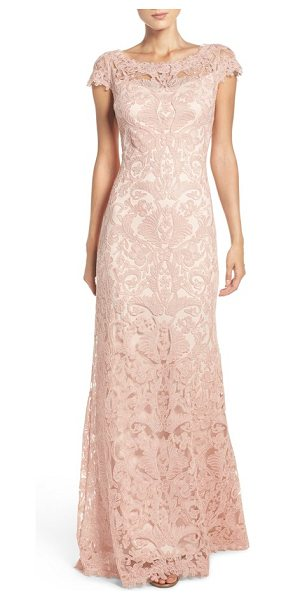 Tadashi Shoji illusion yoke gown in petal bloom - Lacy embroidery adds decadent power to this...