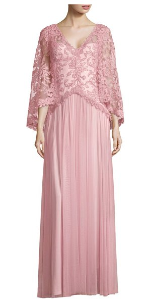 Tadashi Shoji lace floor-length gown in rosequartz - Elegant gown with floral lace details and pleated...