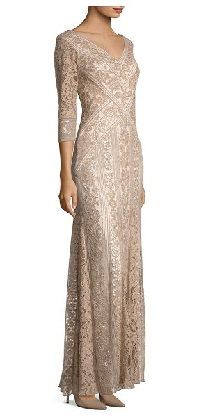 Tadashi Shoji lace godet dress in champagne - Embroidery and lace highlight this godet gown.V-neck and...