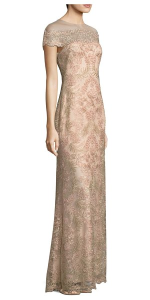 Tadashi Shoji lace illusion gown in petal gold - Intricate floral lace gown with scalloped trim. Illusion...