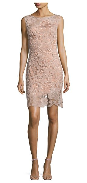 Tadashi Shoji CPSLV CRWNCK LACE OVRLY CKTL in rose taupe - Tadashi Shoji cocktail dress with lace overlay detail....