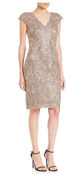 Tadashi Shoji cap sleeve lace sheath dress in smoke pearl - Traces of metallic lace highlights this charming,...