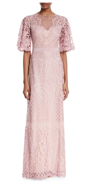 "Tadashi Shoji Lace V-Back Short-Sleeve Gown in rose quartz - Tadashi Shoji lace gown. Approx. 60""L from shoulder to..."