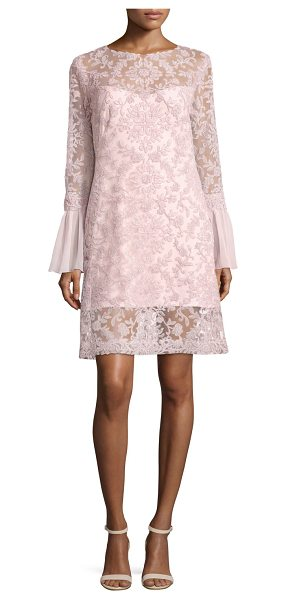 Tadashi Shoji Long-Sleeve Embroidered Overlay Cocktail Dress in rosetta - Tadashi Shoji cocktail dress, featuring a mesh overlay...