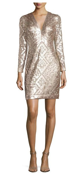 Tadashi Shoji Long-Sleeve Sequin Grid Sheath Dress in ginseng/natural - EXCLUSIVELY AT NEIMAN MARCUS Tadashi Shoji cocktail...