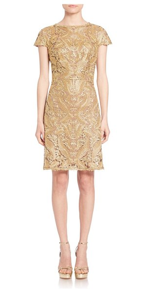 Tadashi Shoji Metallic lace dress in gold - Alluring metallic lace design with delicate cap...