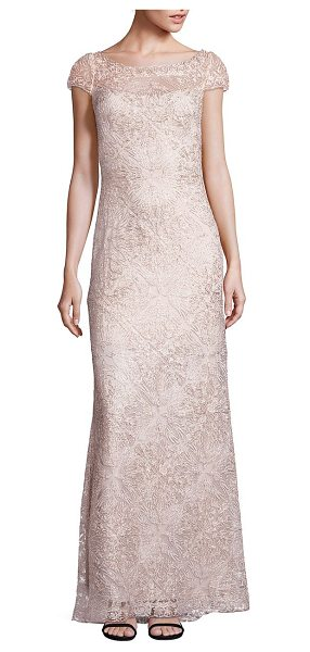 Tadashi Shoji bird lace gown in ivory gold - Gorgeous fit-and-flare gown with rich lace details. Boat...
