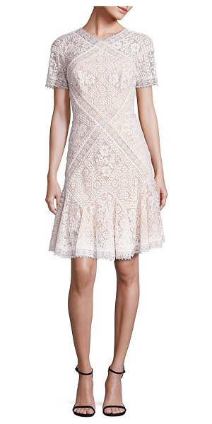 Tadashi Shoji patchwork lace dress in ivory petal - Whimsical lace patchworks adorn this lovely...