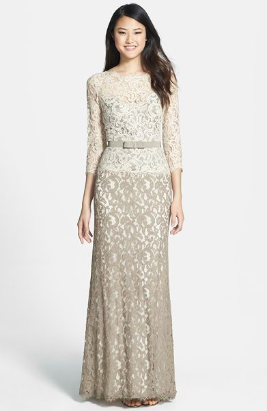 Tadashi Shoji mock two piece lace gown in latte - Two-toned lace fashions a stately, floor-sweeping gown...