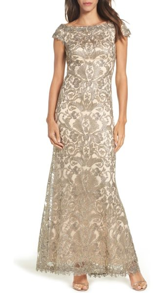 Tadashi Shoji off the shoulder corded tulle gown in duchess grey/ desert bloom - Shimmering embroidery brings glamorous gleam to an...