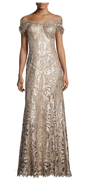 Tadashi Shoji Off-the-Shoulder Embellished Lace Gown in ginseng/natural - Tadashi Shoji gown in embroidered lace with sequin...
