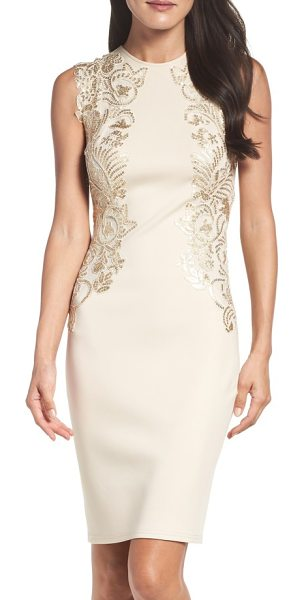 Tadashi Shoji sequin applique neoprene sheath dress in light peach