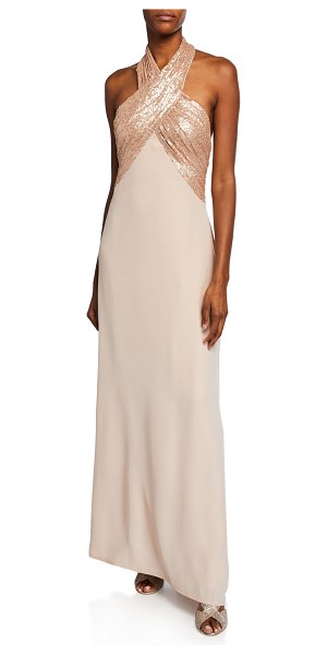Tadashi Shoji Sequin Crepe Halter Gown in champagne