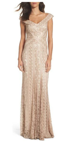 Tadashi Shoji sequin gown in champagne - Densely sewn sequins create vertical floral paillettes...