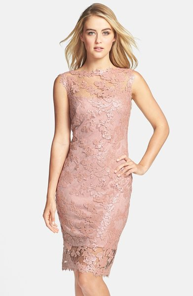 Tadashi Shoji sequin illusion lace dress in light pink - The always-chic bateau-neck sheath is elevated to...