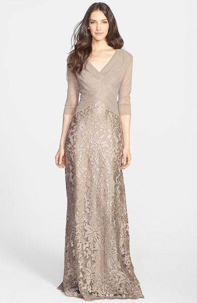 Tadashi Shoji sequin lace gown in sand - Pintuck pleating adds to the elegance of a dreamy V-neck...