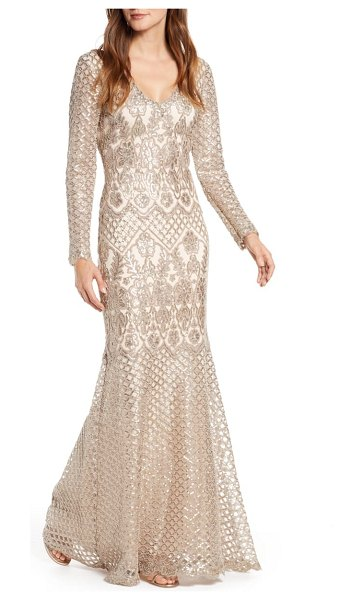 Tadashi Shoji sequin lace long sleeve trumpet gown in beige
