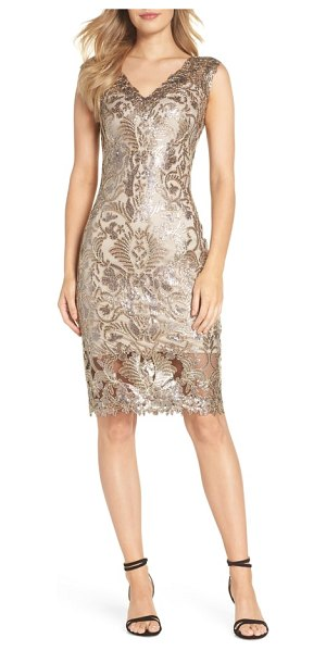 Tadashi Shoji sequin & lace sheath dress in metallic - Shimmering sequins and delicate embroidery distinguish a...