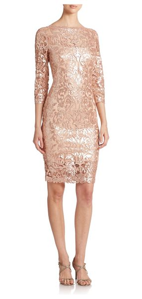 Tadashi Shoji Sequined lace dress in petal-bloom - Gleaming sequined embroidery adds a touch of glamour to...