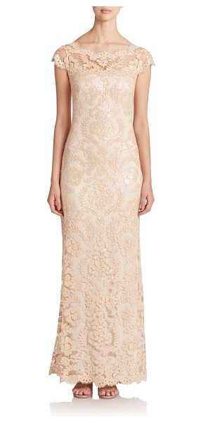 Tadashi Shoji Sequined lace gown in jute - Eyelash-trimmed lace adorned with iridescent sequins...