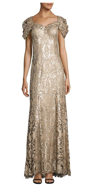 TADASHI SHOJI sequined lace off-the-shoulder sweetheart gown - Elegant maxi gown in shimmery sequin-embroidered lace....