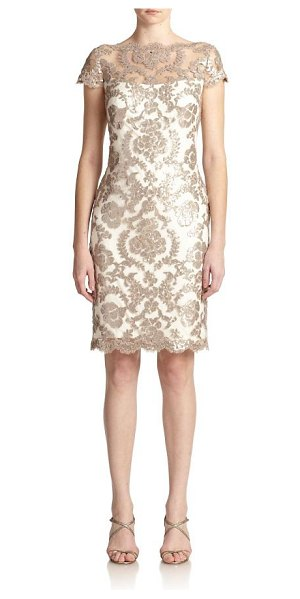 Tadashi Shoji sequined lace sheath dress in sand-ivory - Sequined lace lends a feminine touch to this...