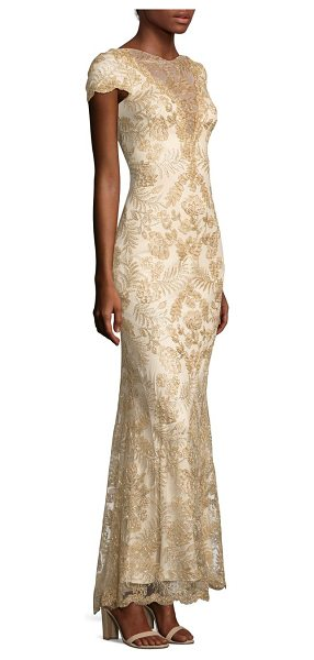 Tadashi Shoji short-sleeve a-line lace gown in light gold primrose - Delicate lace adds loveliness to this feminine A-line...