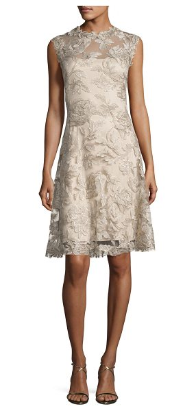 Tadashi Shoji Sleeveless Embroidered Cocktail Dress in latte/gold - Tadashi Shoji cocktail dress in floral embroidered...
