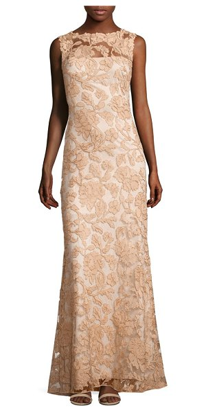 TADASHI SHOJI sleeveless floral lace a-line gown - Lovely floral lace highlights this flowy gown. Boatneck....