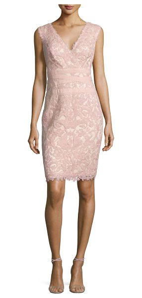 "Tadashi Shoji Sleeveless Floral Lace Cocktail Dress in petal bloom - Tadashi Shoji lace cocktail dress. Approx. length: 32""L..."