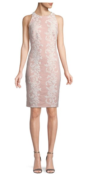 TADASHI SHOJI Sleeveless Lace Applique Sheath Dress in rose - Tadashi Shoji sheath dress with lace appliqu. Approx....