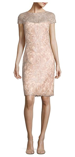 Tadashi Shoji soutache-embroidered sheath dress in petalsilver - Beautiful, tactile soutache embroidery creates an...