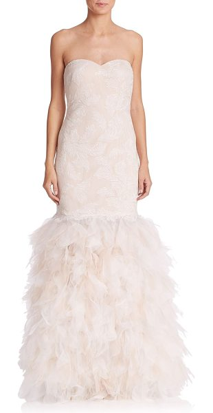 Tadashi Shoji Strapless drop-waist feather gown in ivory-petal - Feather-like tulle on a sumptuous silk skirt adds a...