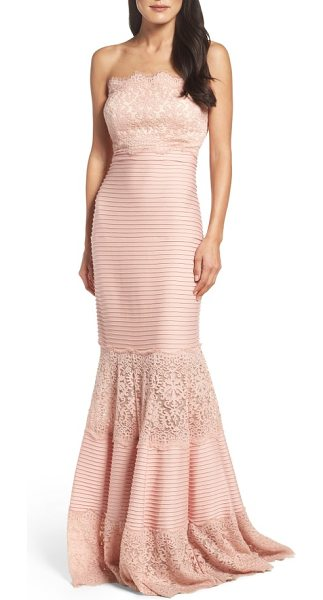 Tadashi Shoji strapless lace inset pintuck jersey gown in petal bloom - Wide lace panels alternate with pintuck-pleated jersey...