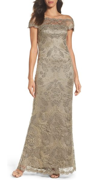 Tadashi Shoji tulle gown in smoke pearl - Silvery embroidery shimmers with great detail throughout...