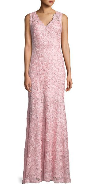 Tadashi Shoji V-Neck Sleeveless Lace Applique Dress in rose - Tadashi Shoji sleeveless gown with lace appliqu. Approx....