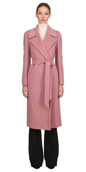 TAGLIATORE 0205 Belted wool & cashmere long coat in pink - Notched lapels . No closure . Includes matching belt....