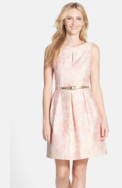 Tahari belted metallic floral jacquard fit & flare dress in petal pink - Soft flowers dapple the lustrous jacquard of this...