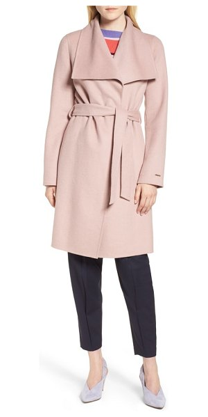 Tahari ellie double face wool blend wrap coat in pink - A drapey lapel lends sophistication to this longline...