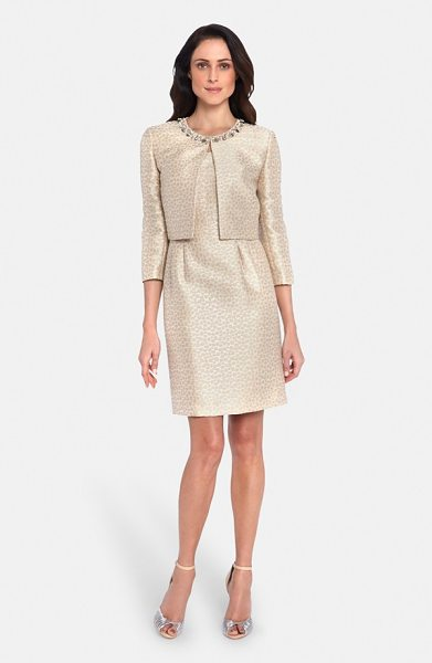 Tahari embellished jacquard sheath dress with jacket in taupe/ ivory - A luminous jacquard pattern runs throughout this...