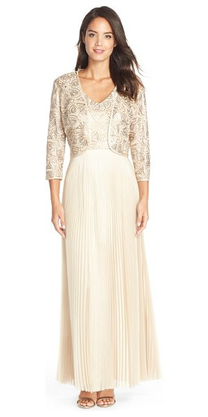TAHARI embellished pleat organza gown with open front jacket - Delicate embroidery and sequins dazzle the bodice of...