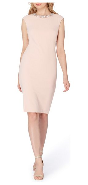 Tahari embellished scuba sheath dress in blush - Versatile, flattering and pre-accessorized, this...