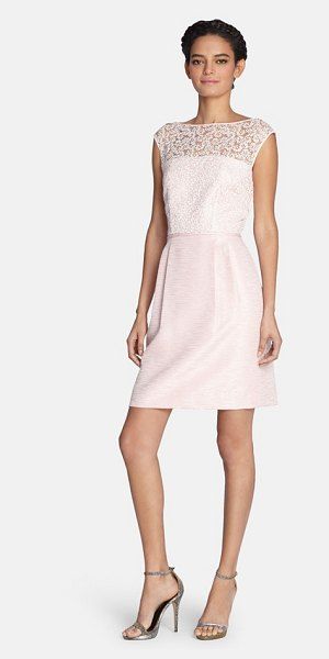 Tahari embroidered bodice shantung fit & flare dress in champagne pink - Delicate embroidered mesh pairs with lovely shantung to...